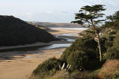 View to Crantock beach from lwr patio & BBQ. Almost same view from house terrace
