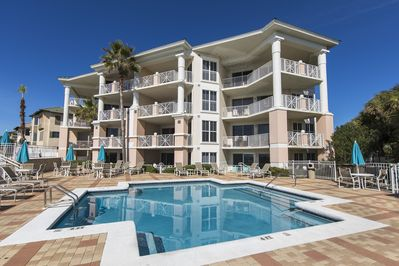 View of the Condominium Building from our private swimming pool.