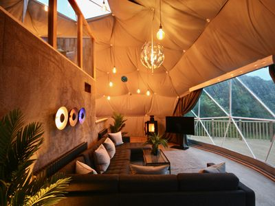 Photo for Luxury Geodome in Devon with Private Hot Tub, Fishing, and 3D Cinema Room