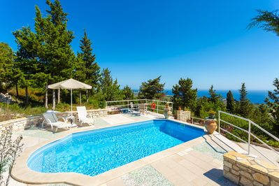 Private pool and terrace with sea views