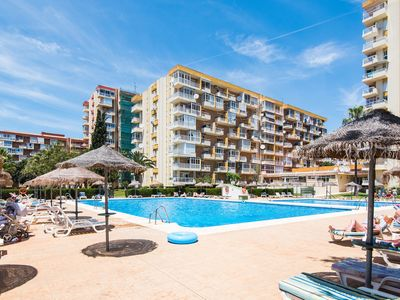 Photo for Air-Conditioned Apartment Close to Beach with Balcony, Pool, Garden & Wifi