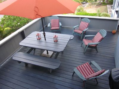 Shared deck for lounging or bbq. A perfect 4th of July location!