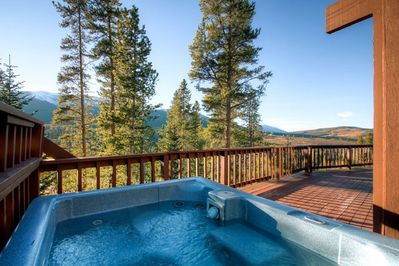 Mountain views from the private hot tub.