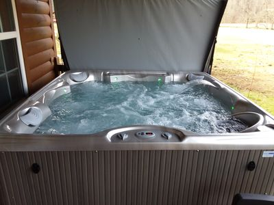 Photo for New HOT TUB! River Front & Mountain View Cabin, Tube, Fish, Pool, Close to Helen