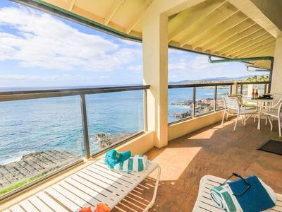 Photo for Poipu Shores 405A: Oceanfront Top Floor AC Penthouse