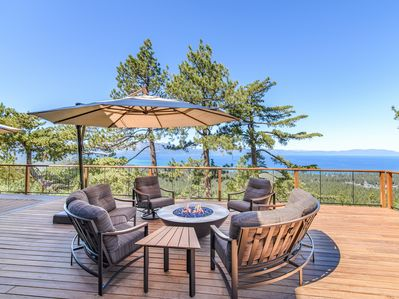 Deck View - Comfortable seating, a fire pit, and breathtaking views await on the deck.