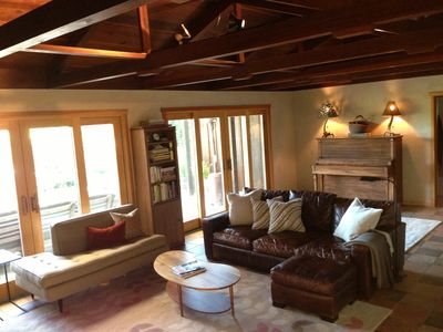 Welcome!  Living room with vaulted redwood ceiling.