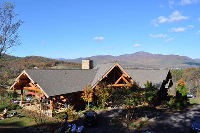 Lodge front, side porch and Old Rag Mountain