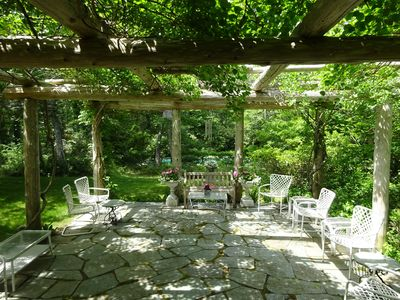 Summertime Pergola with Path to Pool