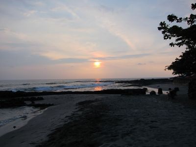 Sunset at one of our favorite beaches just 10 min. away.