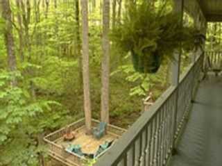 View of lower deck over the creek