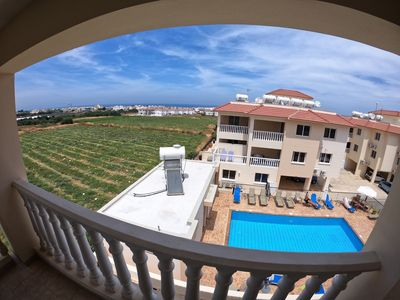 Photo for 3 bedroom spacious apt with pool and sea views