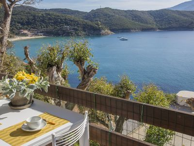 Photo for Three roomed Apartment with an amazing sea view only few steps away from Forno and Scaglieri Beach