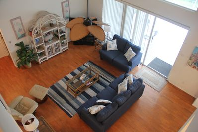 View from 2nd Floor Overlooking the Living Room- Open Vaulted Ceilings