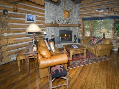 Photo for Log cabin townhome on Gore Creek, free shuttle route, spa access, fireplace