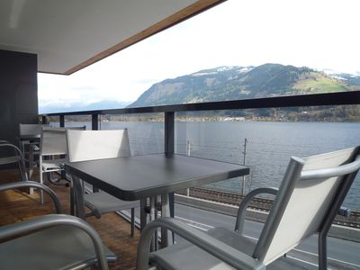 Photo for Lake front Apartment with 12m Balcony superb view across lake Zell, Free Parking