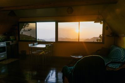 Valley view and views of the Gulf of Nicoya from both in and outside the cabin