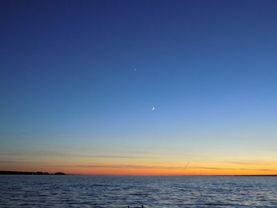 Sunset with Moon and Planet Venus