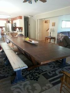 The Dining Room Table seats 14.