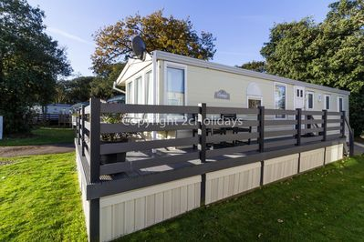 Pet friendly accommodation with decking at Azure Seas Holiday Village