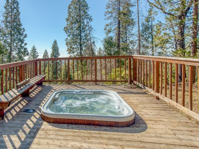 Photo for Wonderful mountain cabin w/ private hot tub & fireplace - forest & valley views!