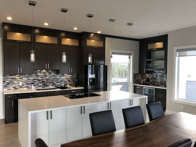 Stunning huge gourmet kitchen with huge dining area