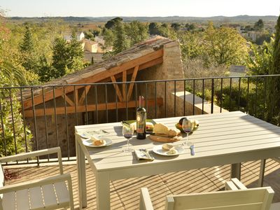 Photo for Light filled village house in the Languedoc with lovely views. 4 star