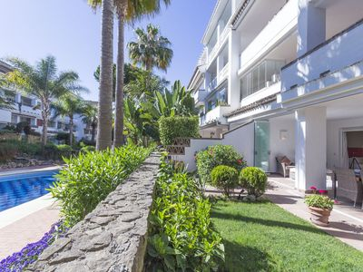 Photo for 2 beds ground  garden floor apartment at Las Canas Beach in Marbella golden Mile