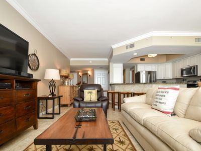 Photo for Beachfront Condo: Spacious End Unit. TWO KING BEDS! Beach Chair service included