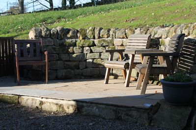 Outside seating area.  Perfect for relaxing and watching horses in the field