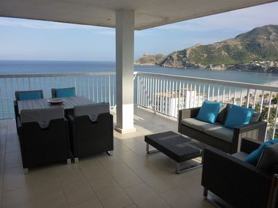 Photo for apartment sea front, sea view, 3 bedrooms, pool, sea view, garden, internet