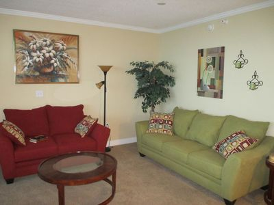 Brand new living room furniture with a Sealy queen sleeper sofa.  Very comfy!