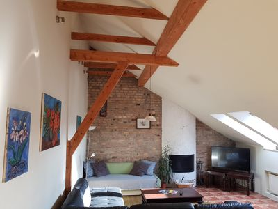 Photo for 65 m2, Penthouse at Vokieciu, Fireplace, 3 rooms