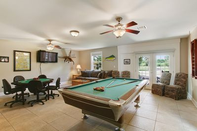 Game Room with Pool Table, Poker Table, and Living