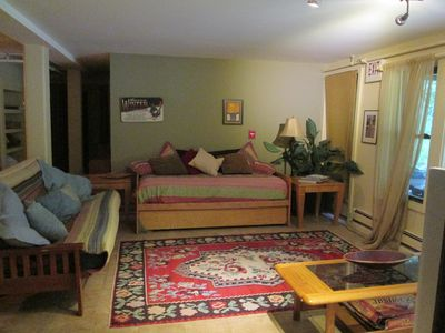 Photo for Close to skiing, secluded setting walk to restaurants and bars up to10  HOT TUB