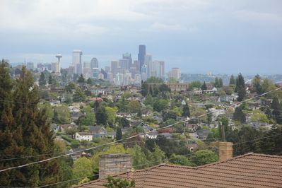 View of Downtown Seattle and Mt. Rainier from living, kitchen, master, deck etc!