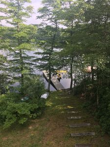 Steps leading to our pond and private dock/beach