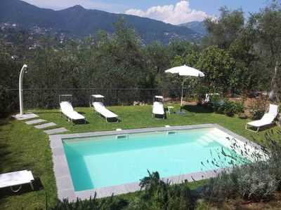 Photo for Luxury Apartment 2-4 persons in villa Liberty with olive trees and swimming pool, fine residential area above Santa Margherita Ligure
