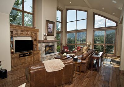 Great room with fireplace and built-in TV