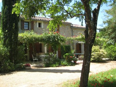 Photo for Cotignac. Pretty stone cottage in 2 acres.Totally private heated pool, min 25°C.