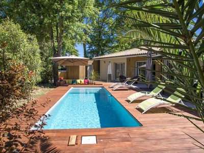 Photo for Beautiful villa with heated pool, 5 mn from the beach, closed to the golf