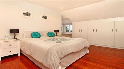 Large main bedroom with sea view and en suite.