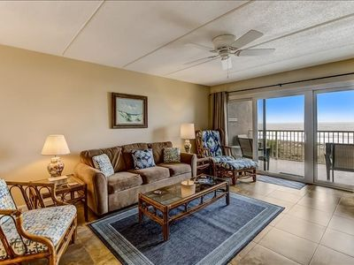 3rd Floor 2 Bed/2 Bath oceanfront condo sleeps 6.   W/D, pool, tennis and private fishing pier!