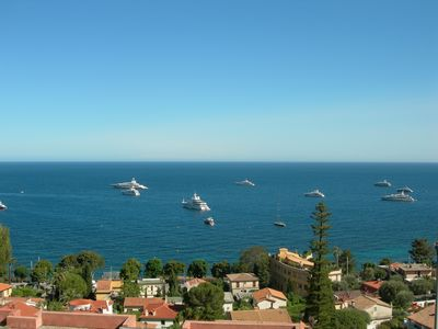 Photo for Sea view garden apartment with pool. Near beach between Nice and Monaco