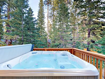 Hot Tub - Relax in the hot tub overlooking the trees.