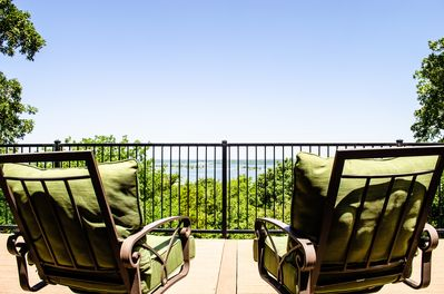 Enjoy the view from one of the three decks that overlook the lake.