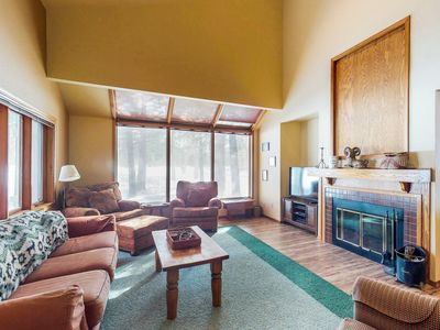 Photo for Dog-friendly condo with shared pool, balcony, fireplace, and golf course view