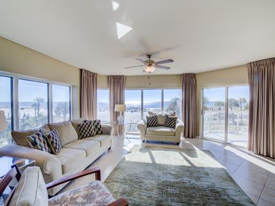 Photo for Lower level, captivating views. Two swimming pools, hot tub, fitness center.