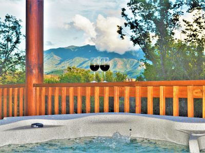 Photo for Brand New Luxury Cabin w/ Amazing Views! Two King Suites, Hot Tub, Wi-Fi!