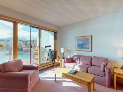 Photo for Cozy, waterfront condo w/ shared hot tub, sauna, & gym - near the slopes, & town